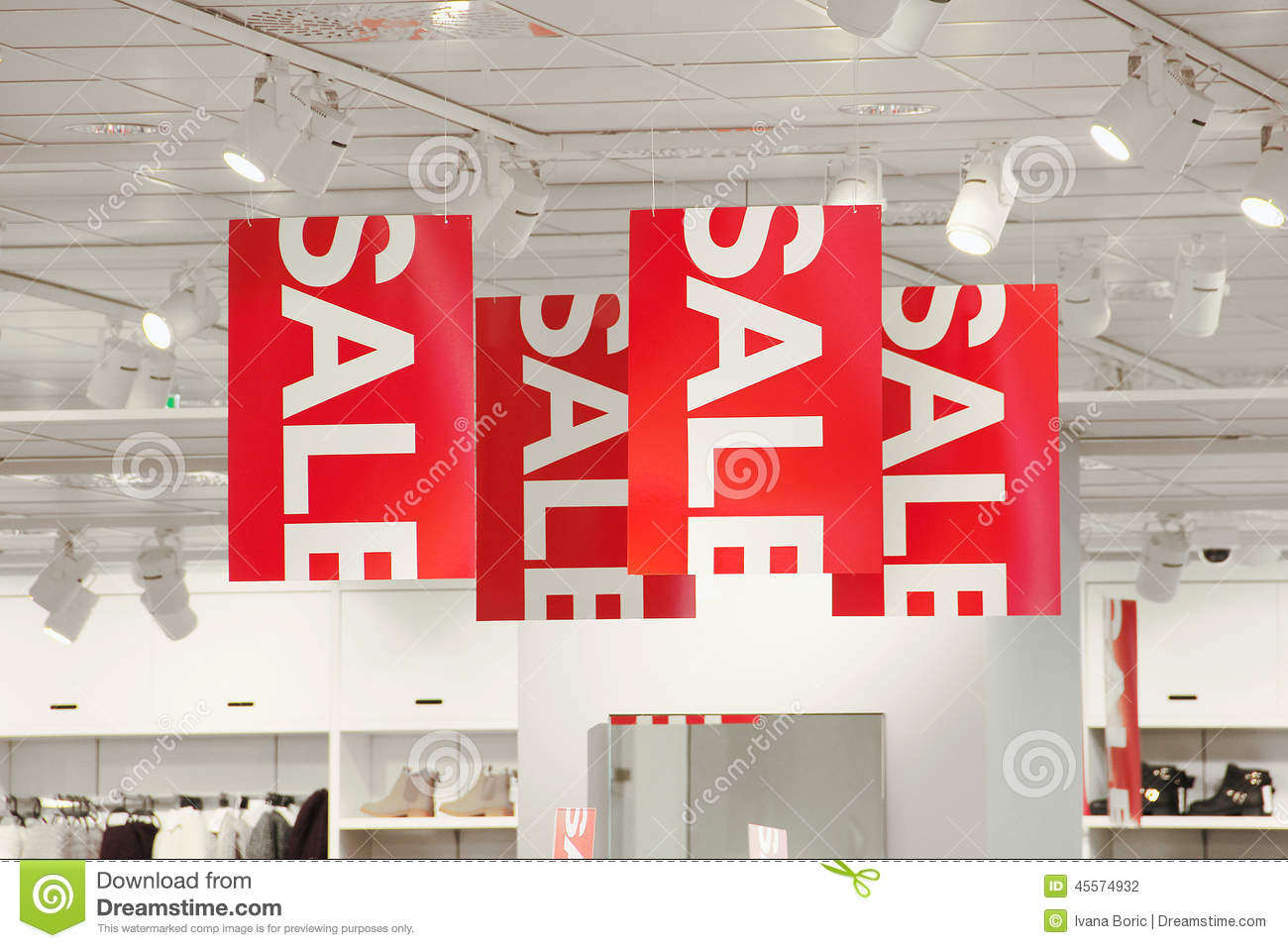 Store Banne 6 X 3.5 M Sale Signs In A Clothing Store Stock Photo Image Of