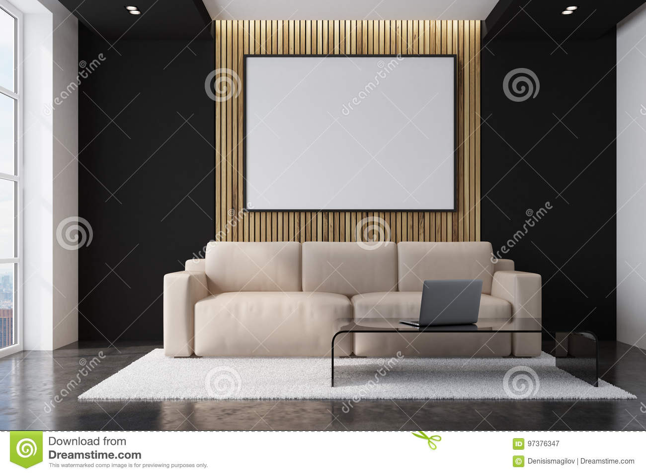 Salon Beige De Sofa Avec Une Affiche Illustration Stock Illustration Du Sofa Beige 97376347
