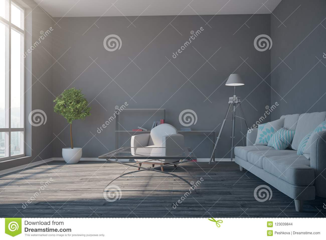 Salon Contemporain Gris Salon Gris Contemporain Illustration Stock Illustration Du Vide