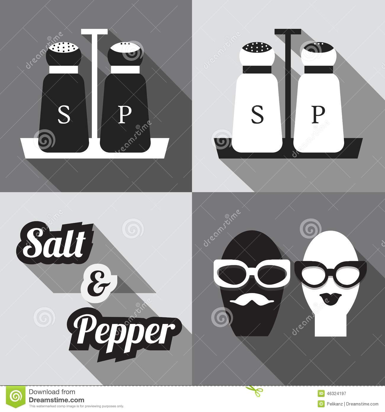 Modern Salt Pepper Shakers Salt And Pepper Shakers Icons Stock Vector Illustration Of Card