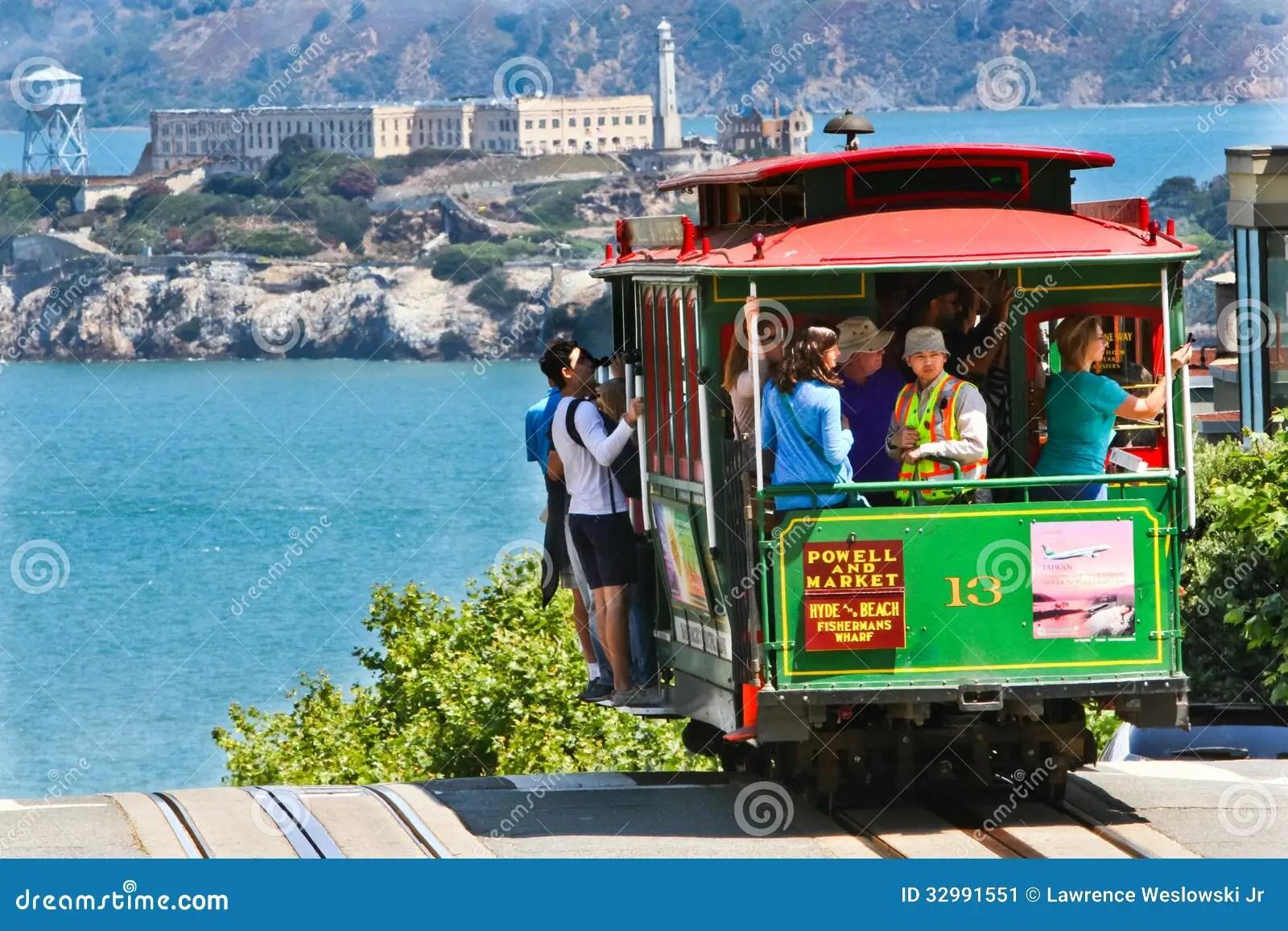 Car Curvy Road Wallpaper San Francisco Cable Car 13 Alcatraz Editorial Photo