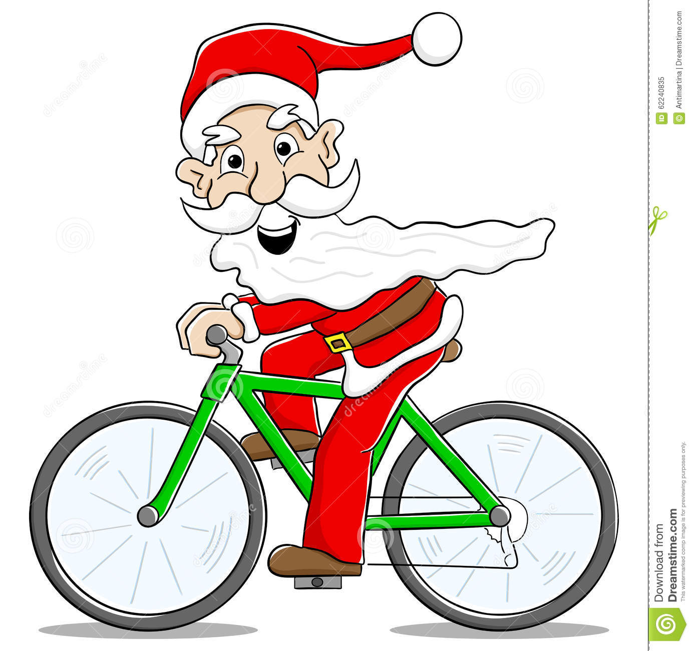 Kerstman Op Fiets Verlichting Santa Claus On Bicycle Delivering Christmas Gifts Stock