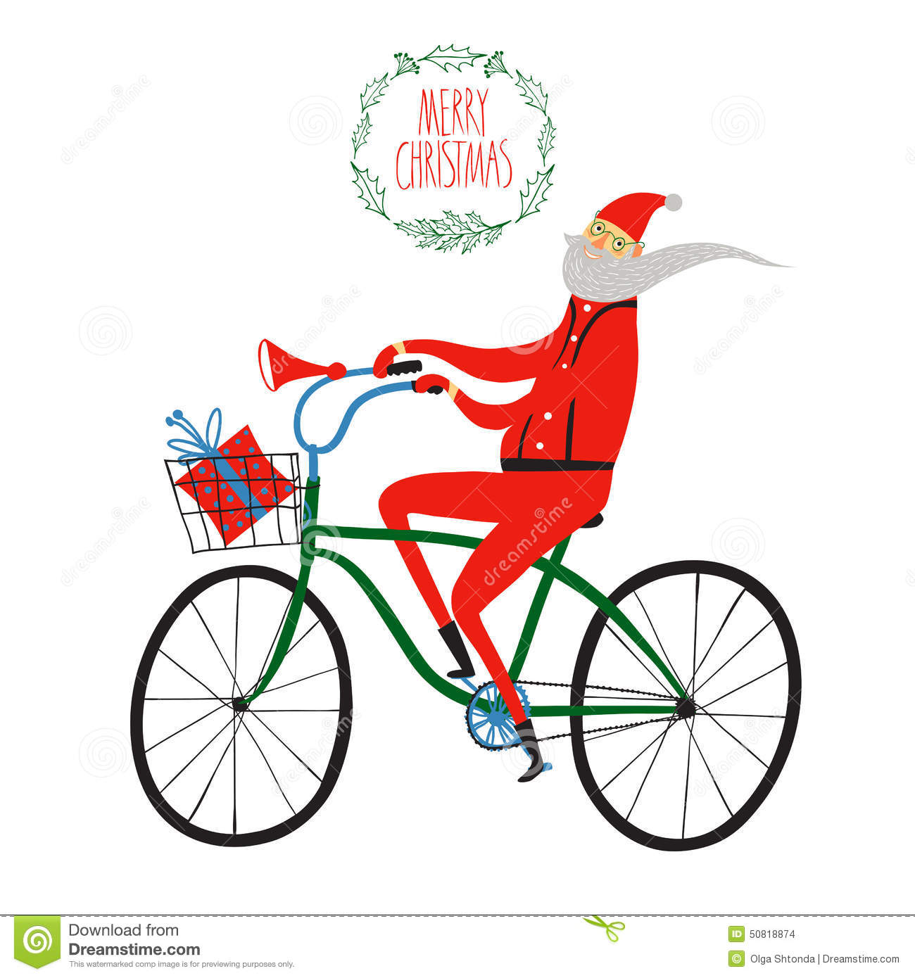 Kerstman Op Fiets Verlichting Santa Claus Cyclist Christmas Illustration Stock Vector