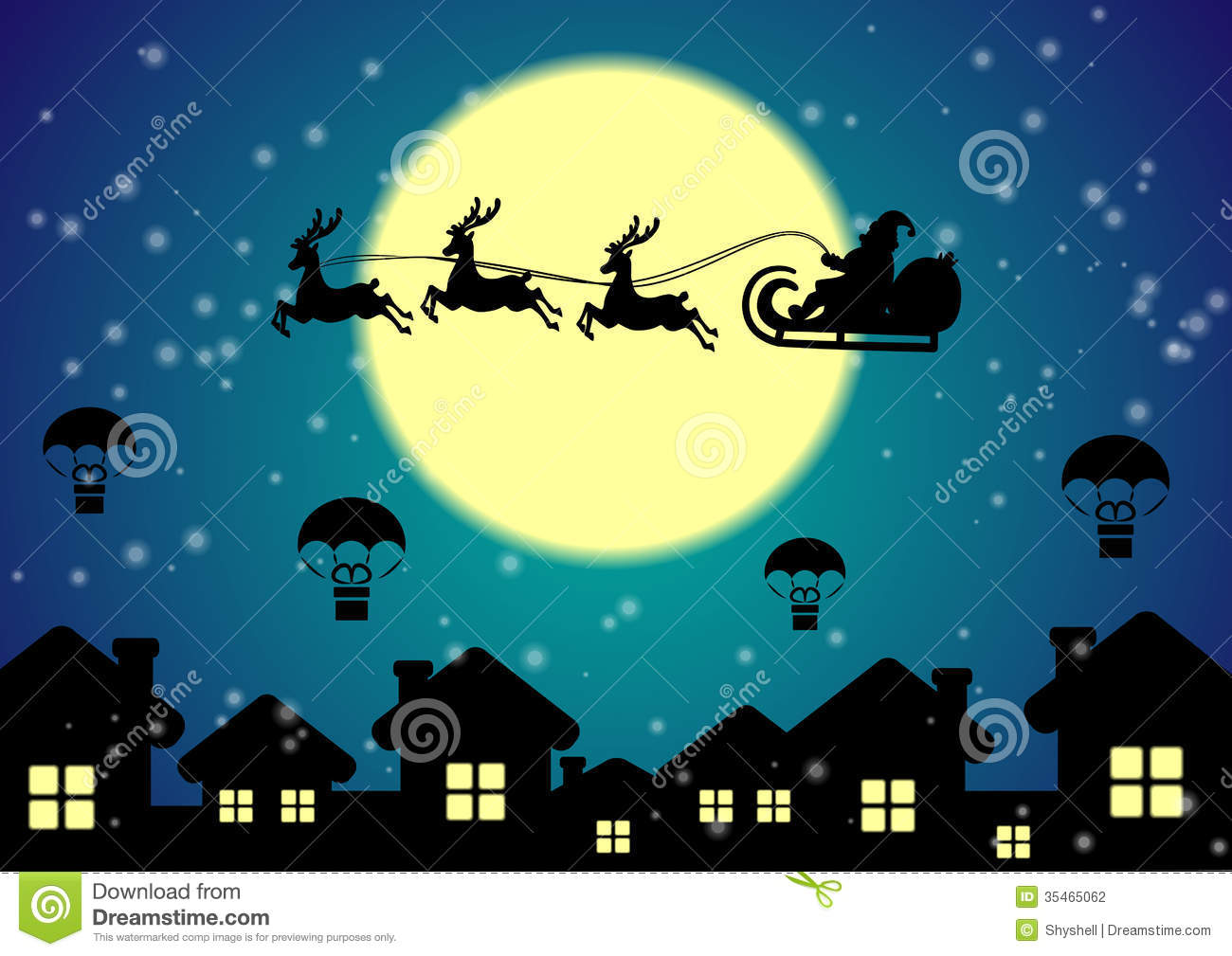 Free Animated Snow Fall Wallpaper Santa Claus With Reindeer Flies Over Night City Stock