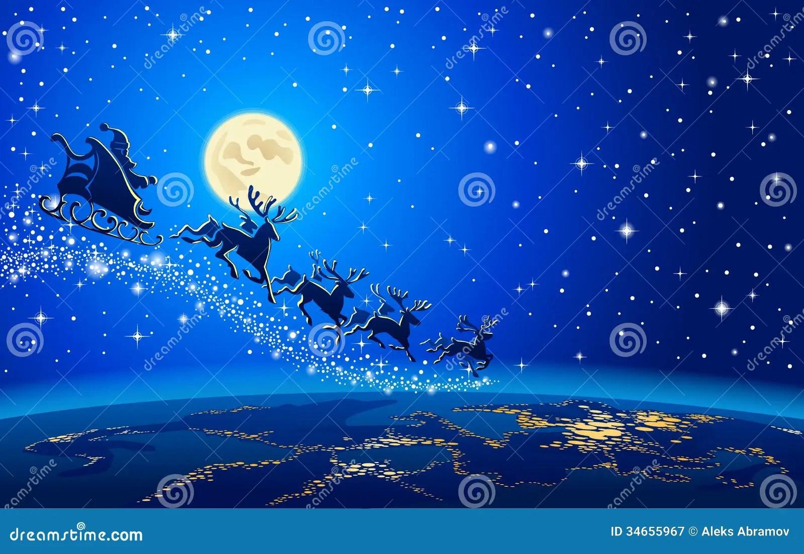 Jesus Wallpaper Hd 3d Download Santa Claus And Reindeer In Sky Stock Vector