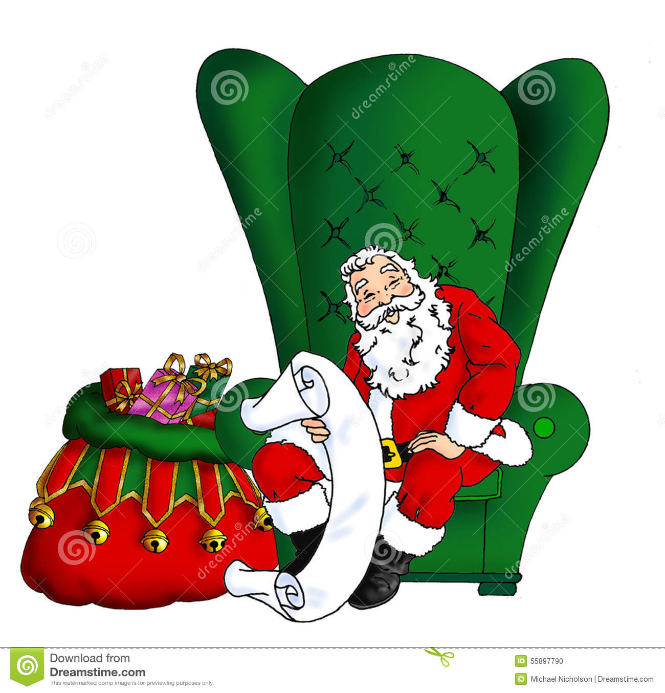 Best Reading Chair For Bad Back Santa Sitting In His Chair Stock Illustration Image