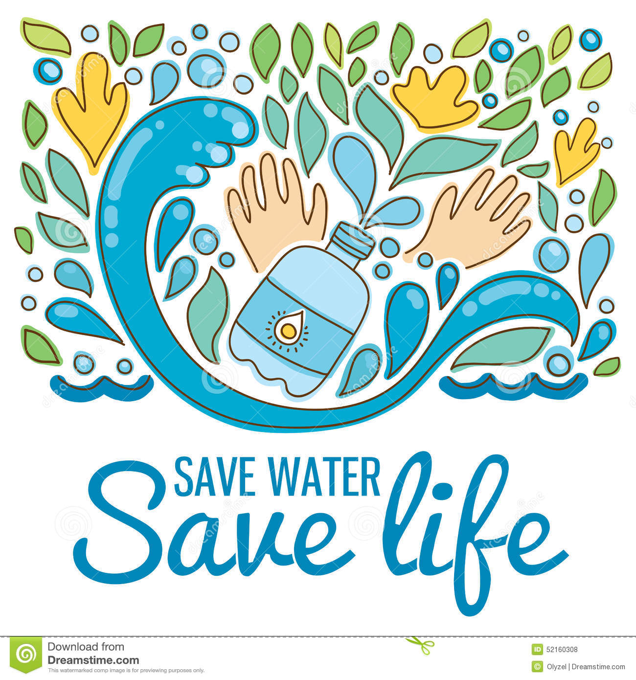 Poster design on save water - Poster Design On Save Water Save Water Save Life Hand Drawn Drops Waves Royalty Free Download