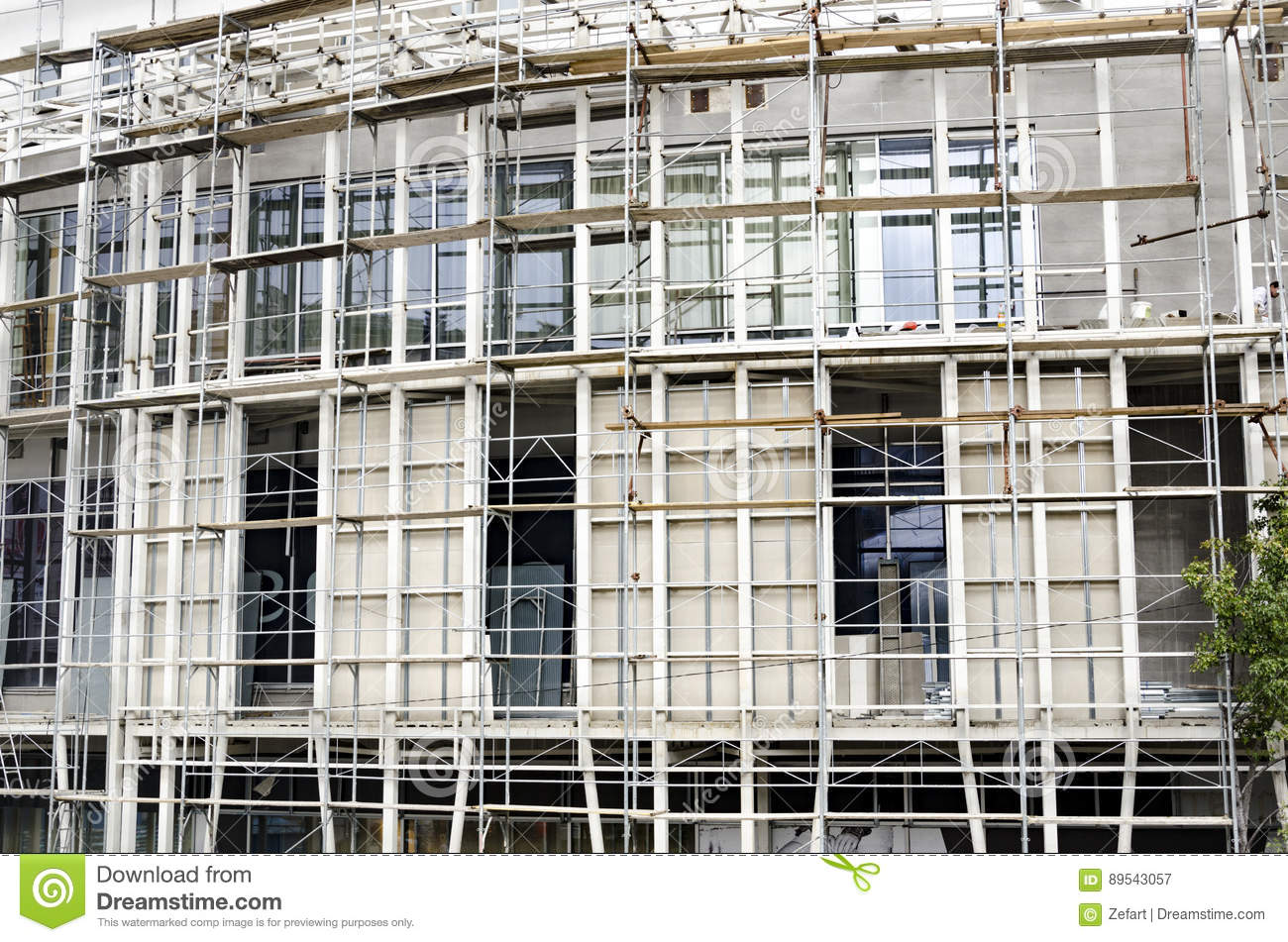 Plaster Building Scaffolding A Building Under Construction Stock Image Image Of