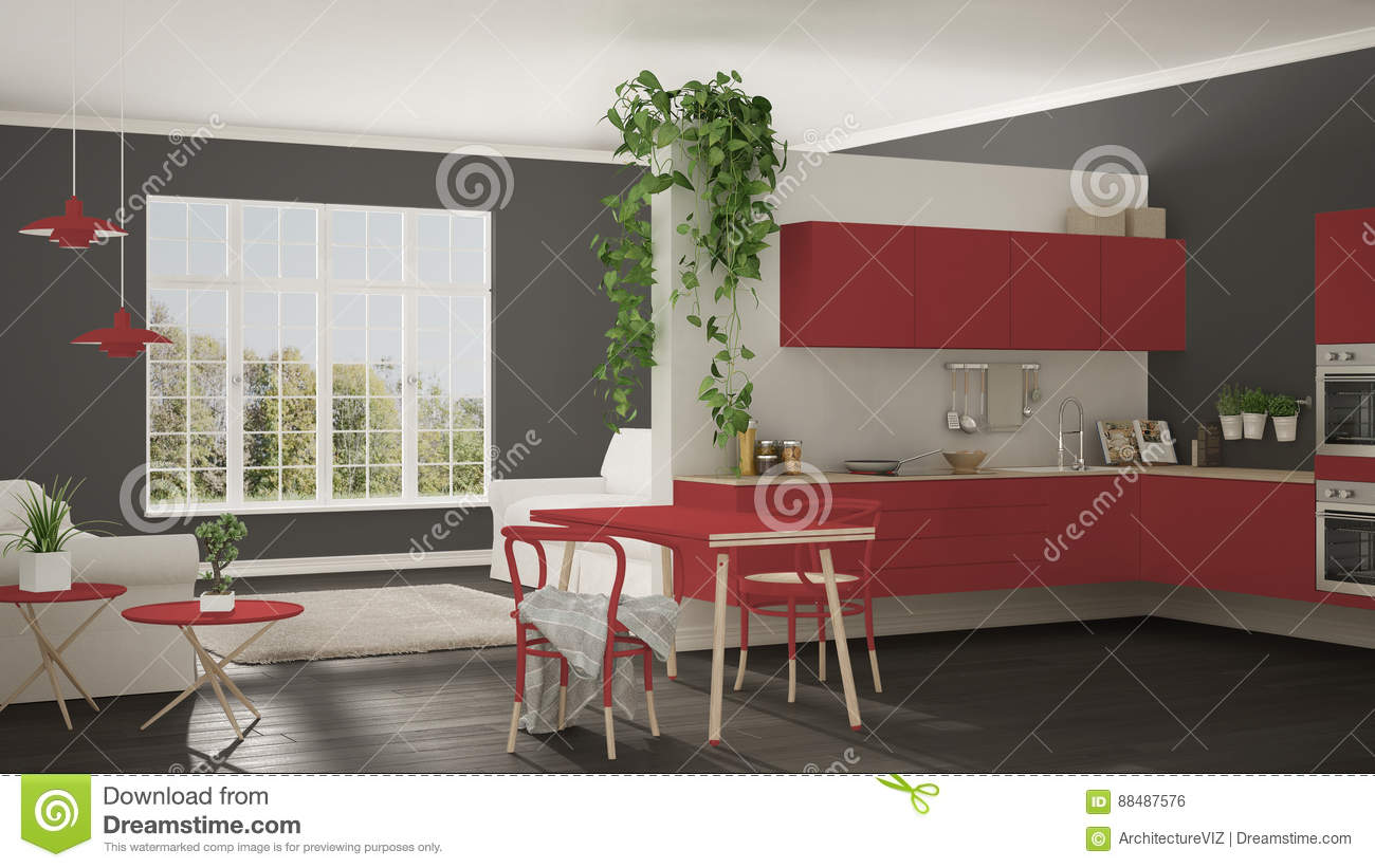 Minimalist Living Space Scandinavian Red Minimalist Living With Kitchen Open Space One