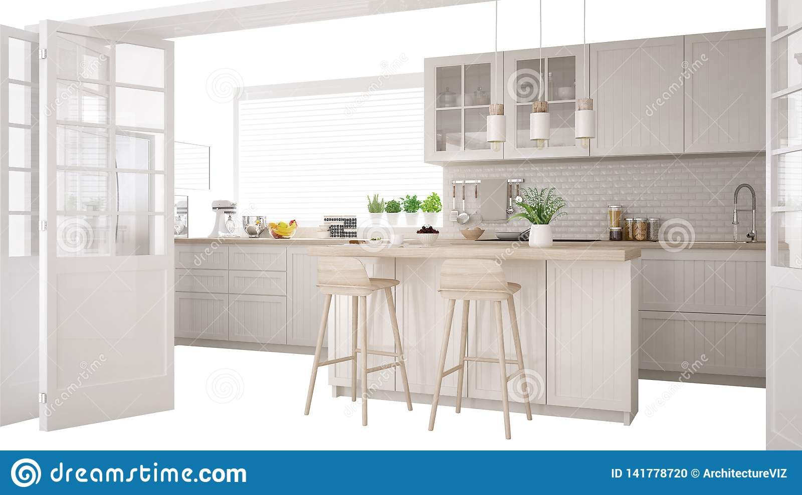 Kitchen Island Design Template Scandinavian White Kitchen With Island And Accessories Interior