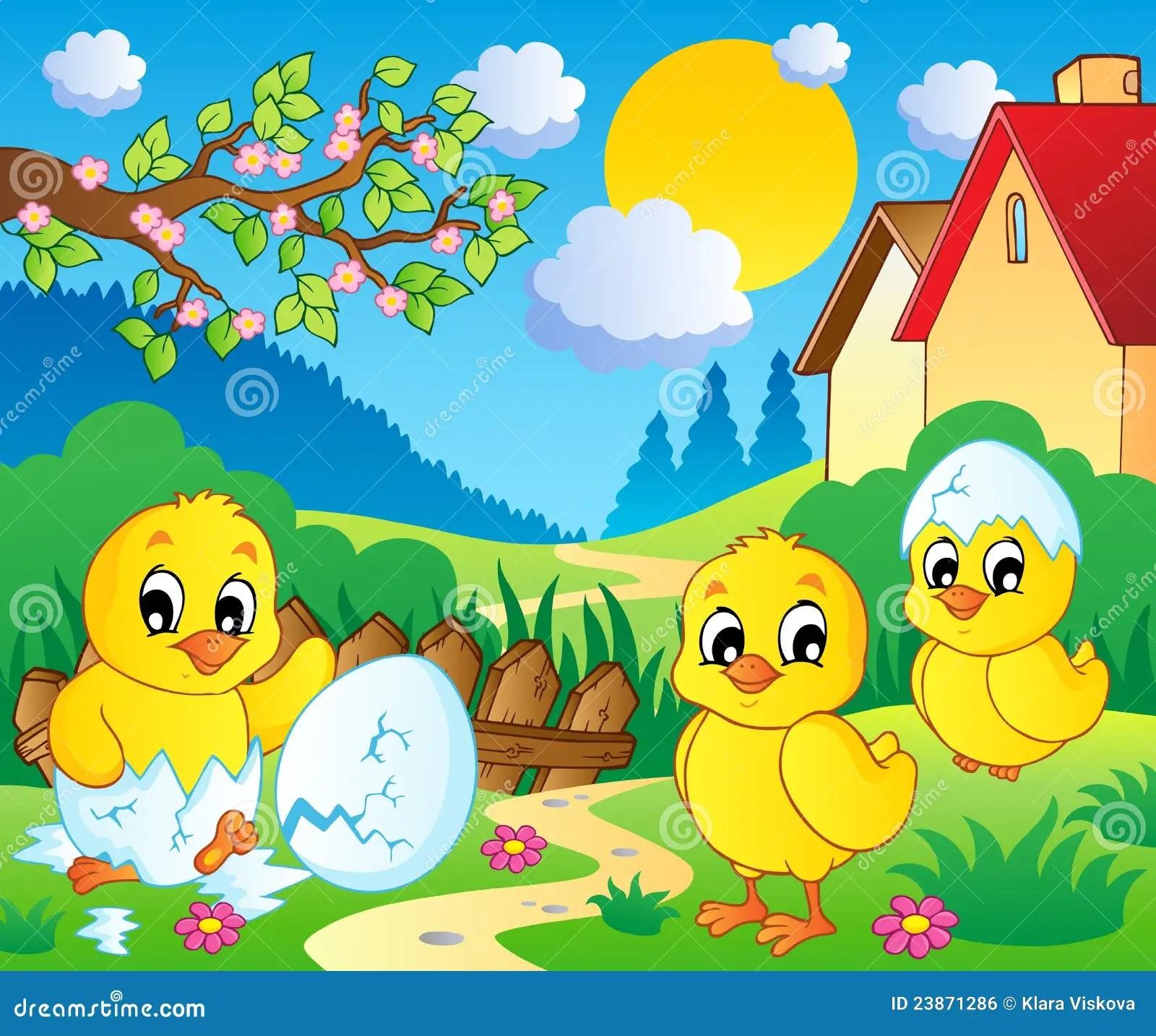 Fall Farm Desktop Wallpaper Scene With Spring Season Theme 2 Stock Vector Image