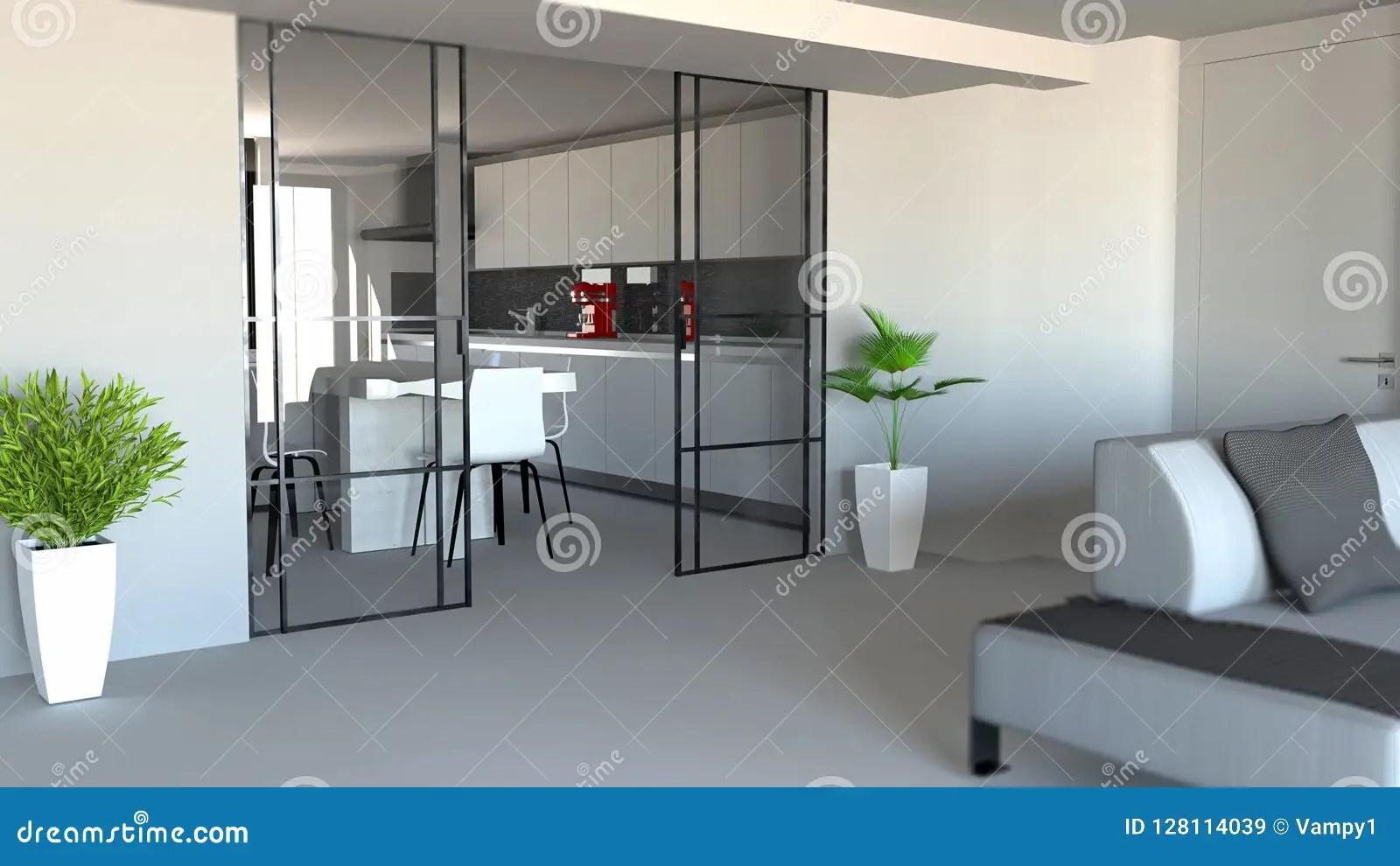 Schiebetür Wohnzimmer Und Küchenfach Moderner Wohnungseingang