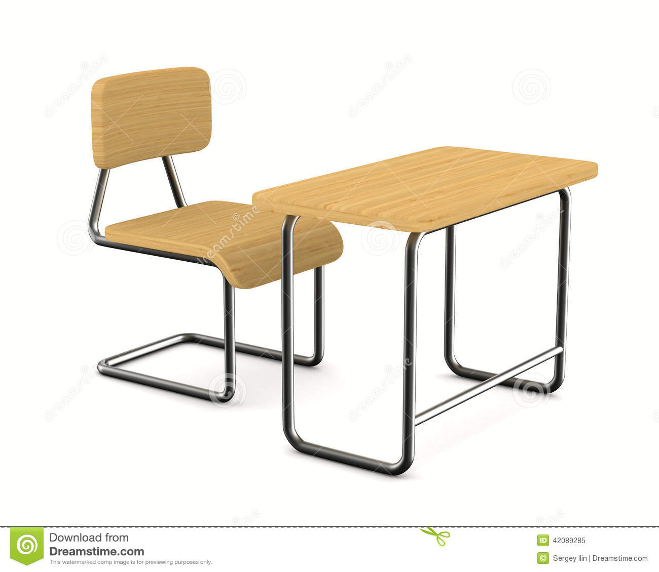 Schreibtisch Schulanfänger School Desk And Chair On White Background Stock