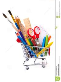 School Or Office Supplies, Drawing Tools In A Shopping ...