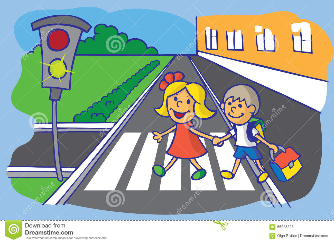 Road Crossing Clipart Schoolchild Crossing At Pedestrian Crossing Stock Vector