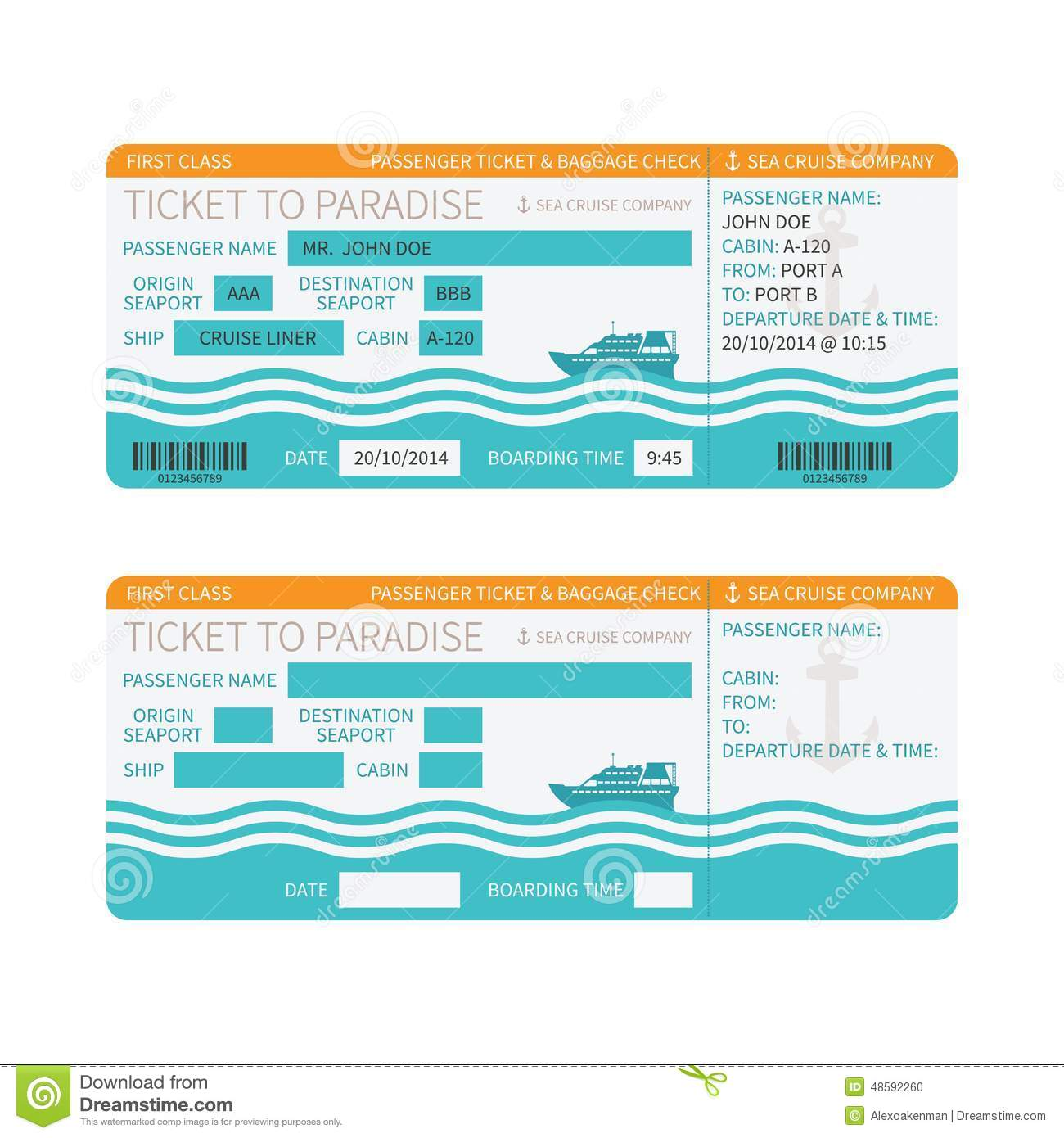Doc.#1300740: Printable Fake Airline Tickets – Blank Airline ...