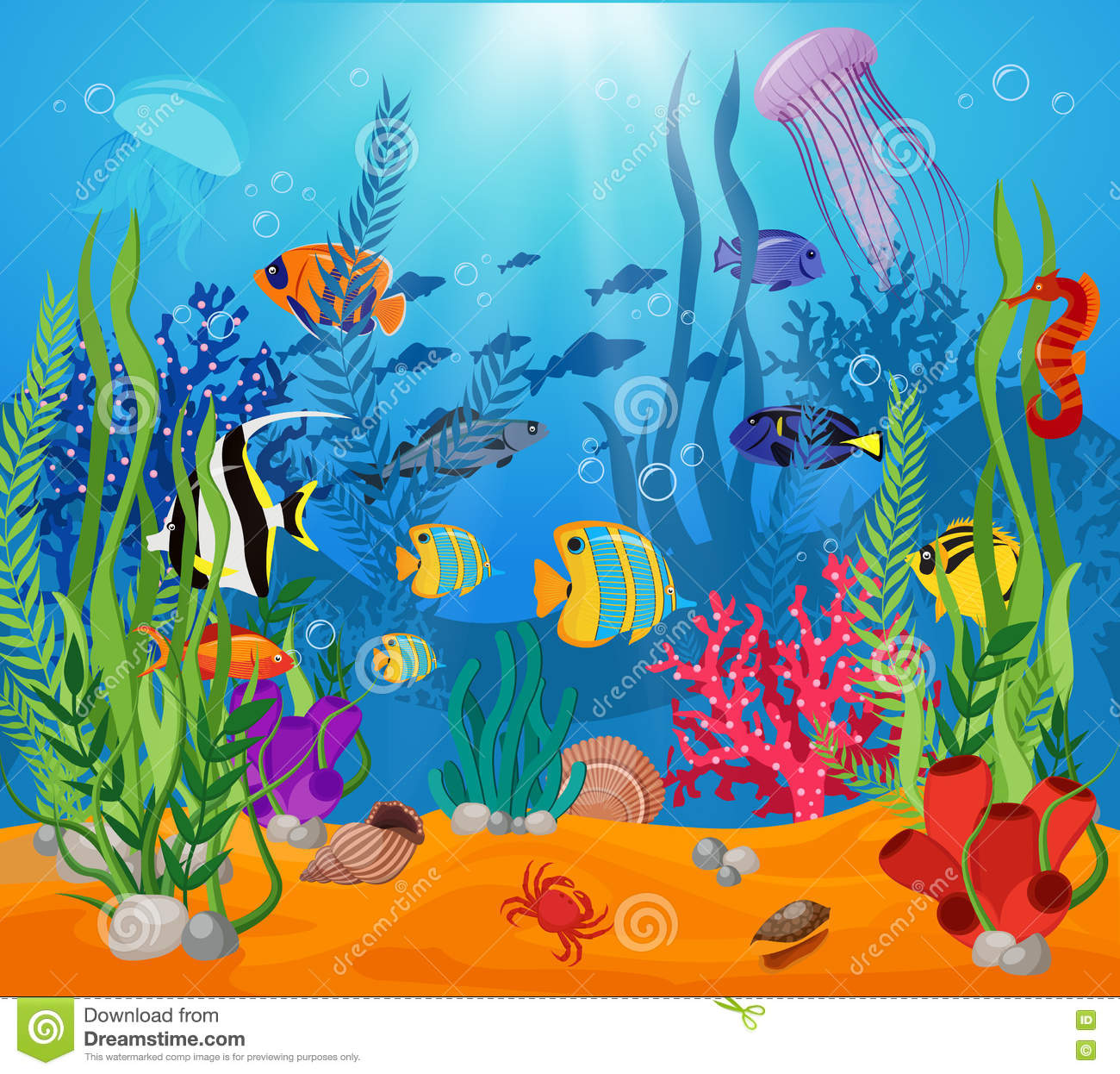 Cute Algae Wallpaper Sea Life Animals Plants Composition Stock Vector Image
