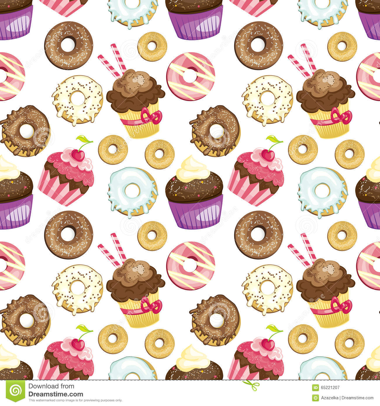 The Simpsons Iphone Wallpaper Seamless Background With Different Sweets And Desserts