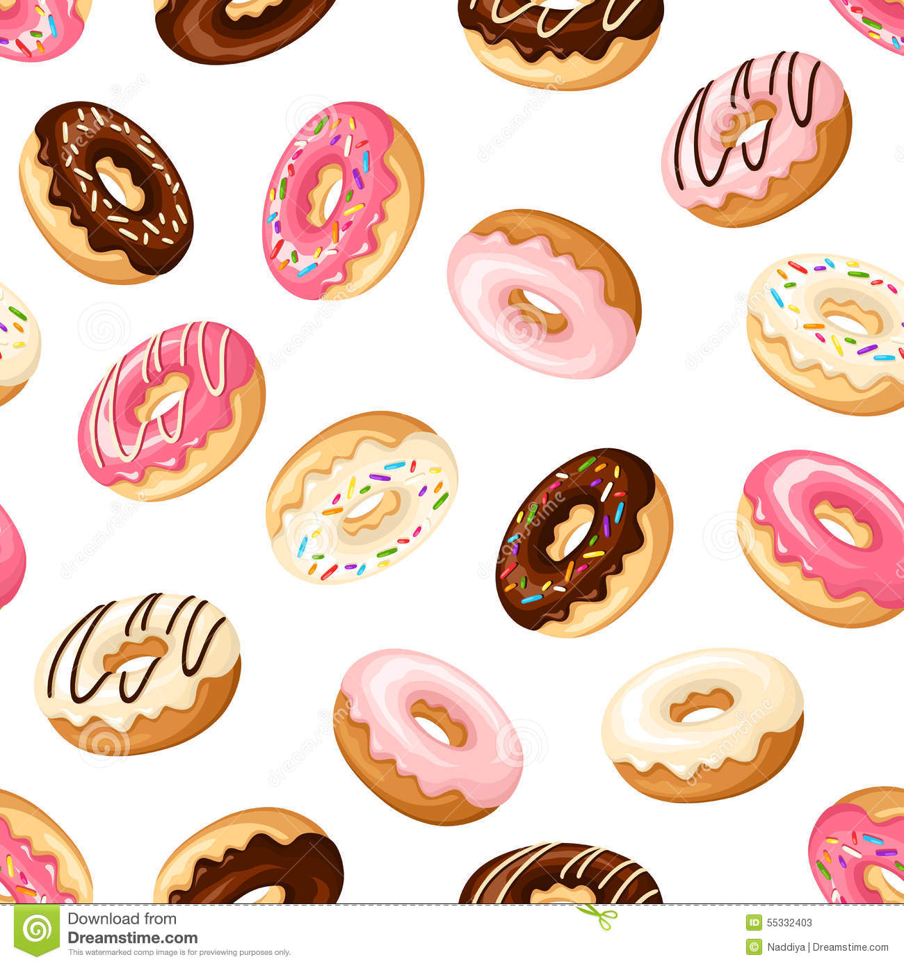Super Cute Girly Wallpaper Seamless Background With Donuts Vector Illustration