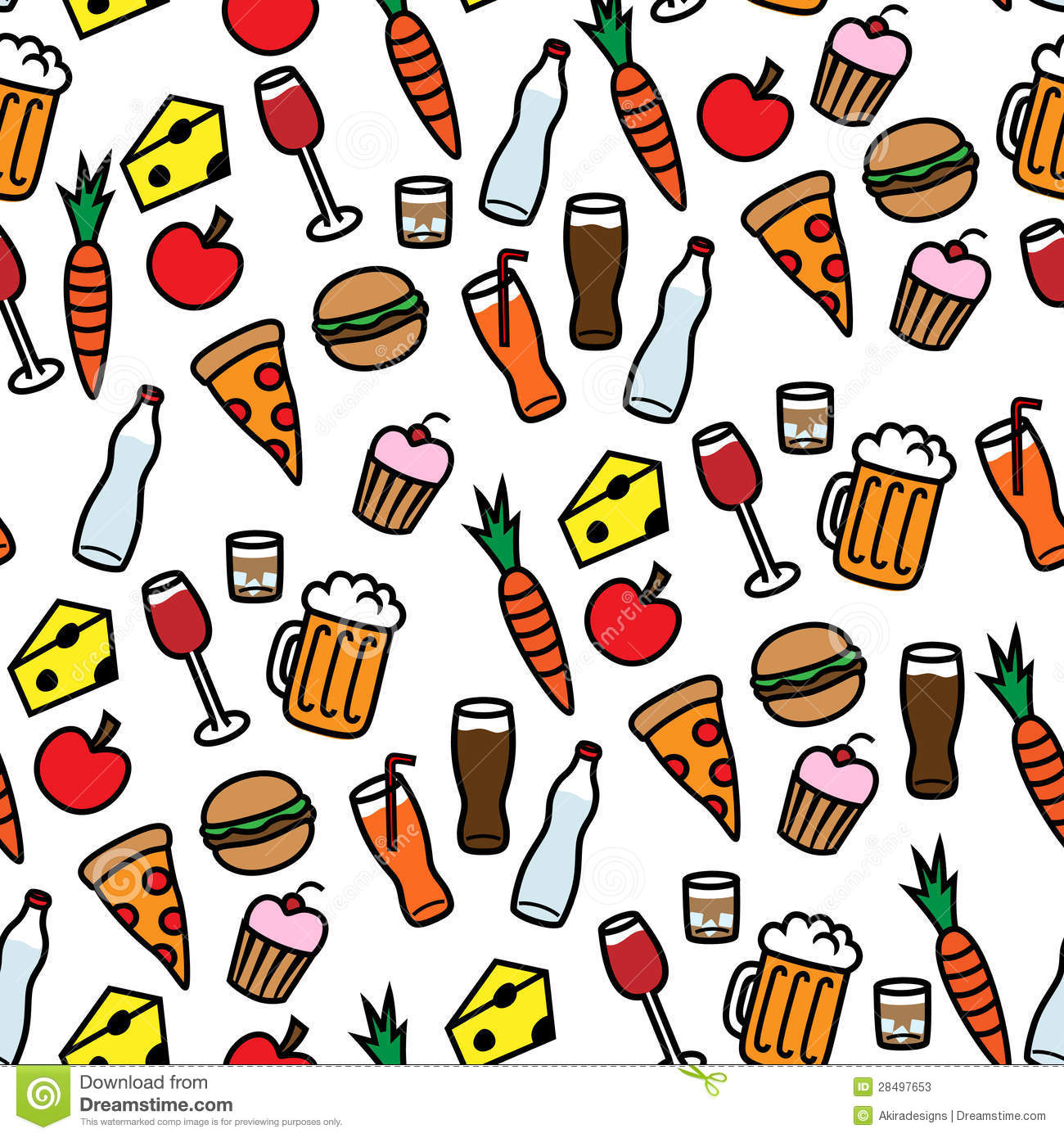 Cute Wallpapers For Bff For 5 Seamless Background Pattern With Food And Drinks Stock
