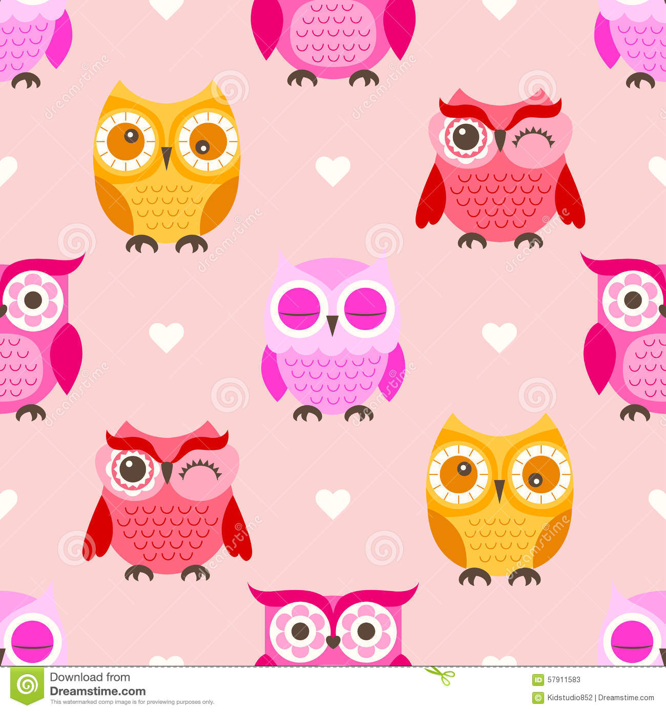 Seamless Cartoon Owls Background Stock Vector Image