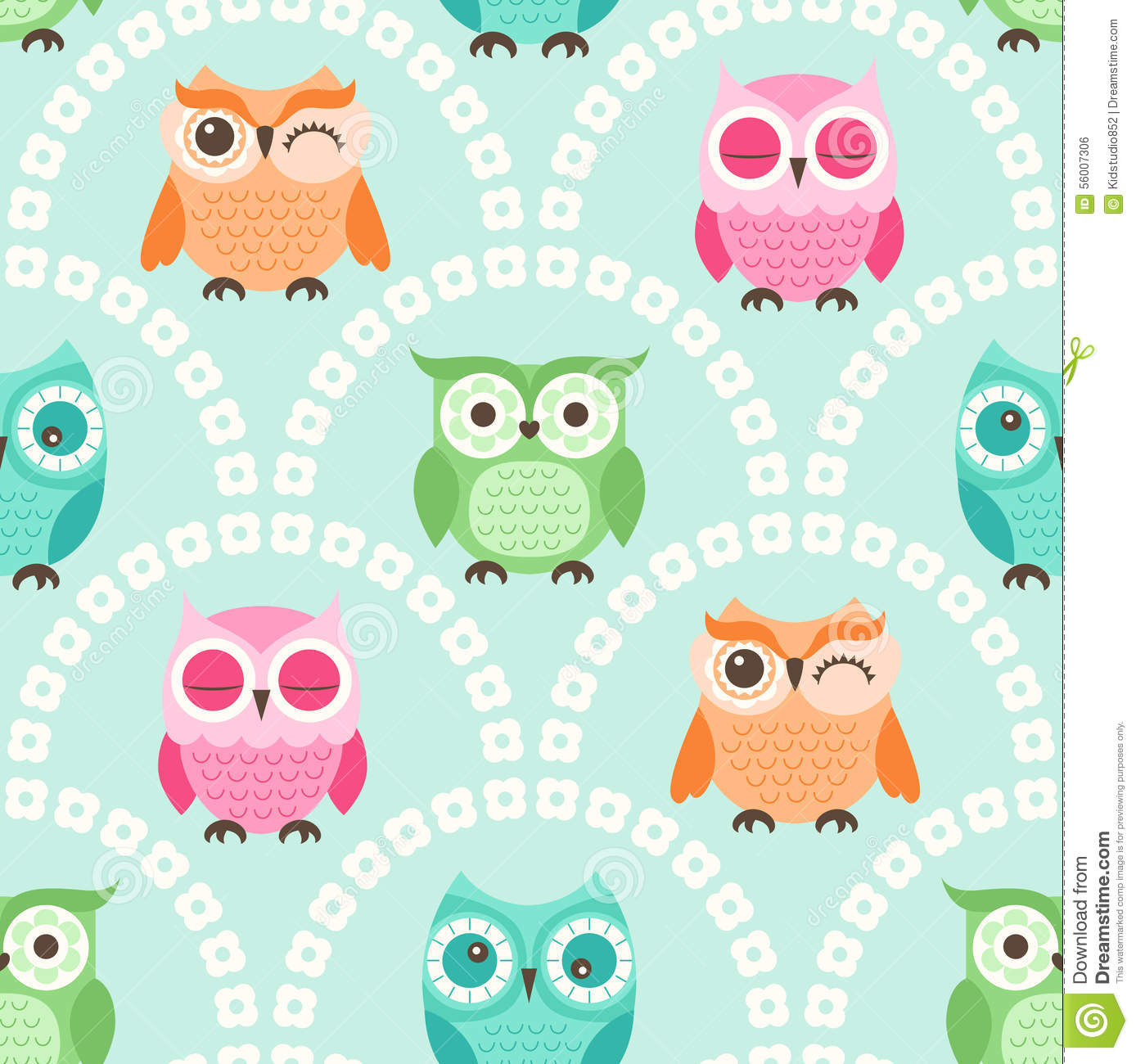 Cute Animal Animation Wallpapers Seamless Cartoon Owls Background Pattern Stock Vector