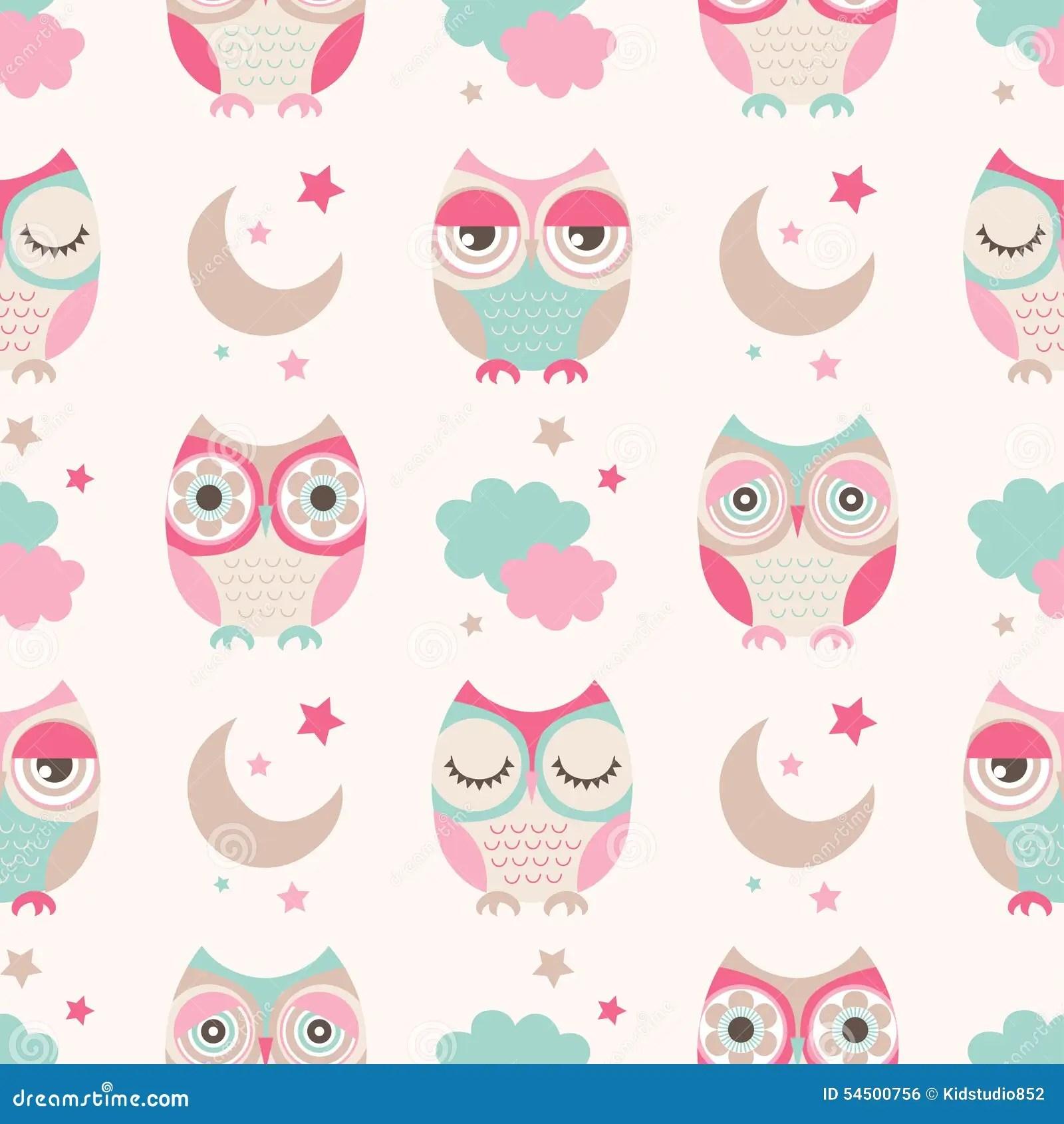 Pale Pink Wallpaper For Girl Nursery Seamless Cartoon Owls Birds Pattern Stock Vector Image
