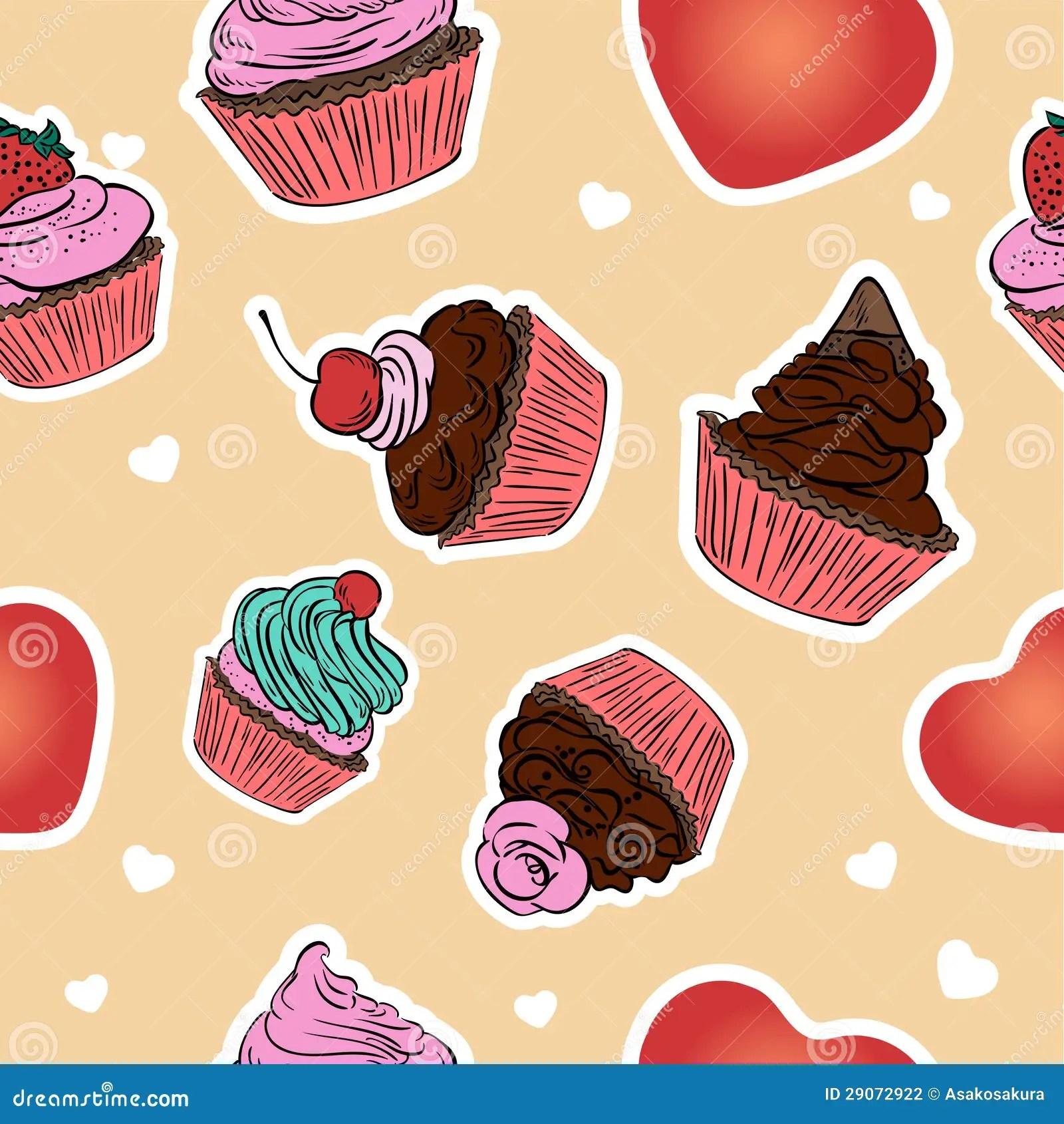 Sweet Baby Girl Wallpaper Free Download Seamless Cupcake Pattern Hand Drawn Background Stock