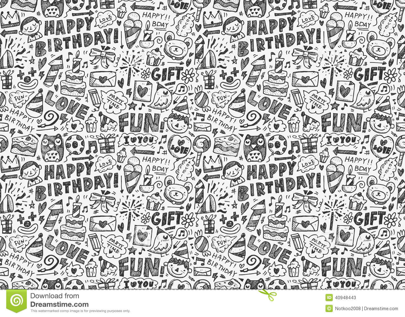 Black Crown Wallpaper Seamless Doodle Birthday Party Pattern Background Stock