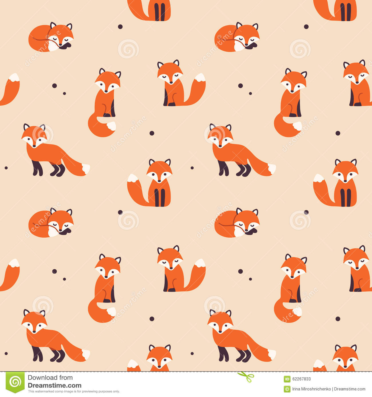 Fall Hipster Wallpapers Seamless Fox Pattern Stock Vector Image 62267833