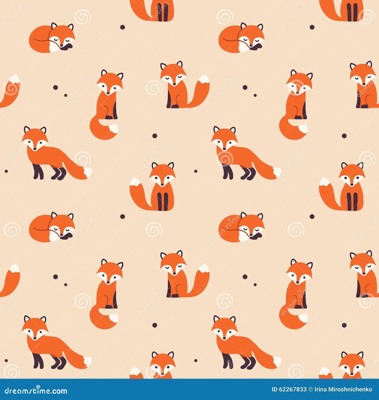 Cute Cartoon Flower Wallpaper Seamless Fox Pattern Stock Vector Image 62267833
