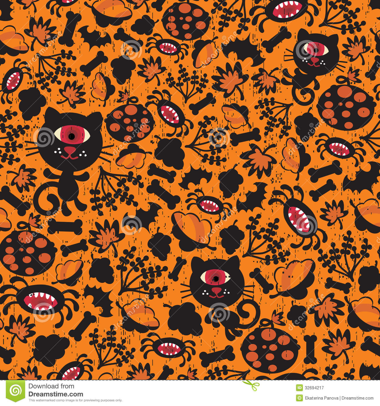 Neon Fall Wallpapers Seamless Halloween Background With Monsters Royalty Free