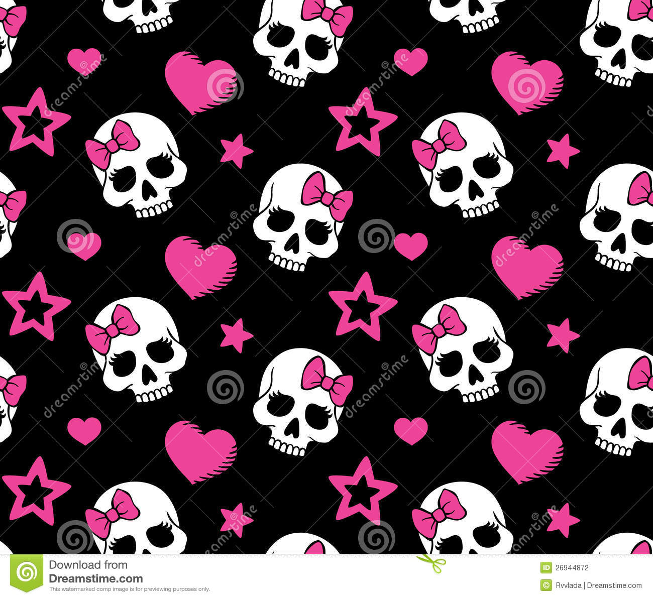 Cute Girly Skull Wallpapers Seamless With Hearts And Skulls Stock Photography Image