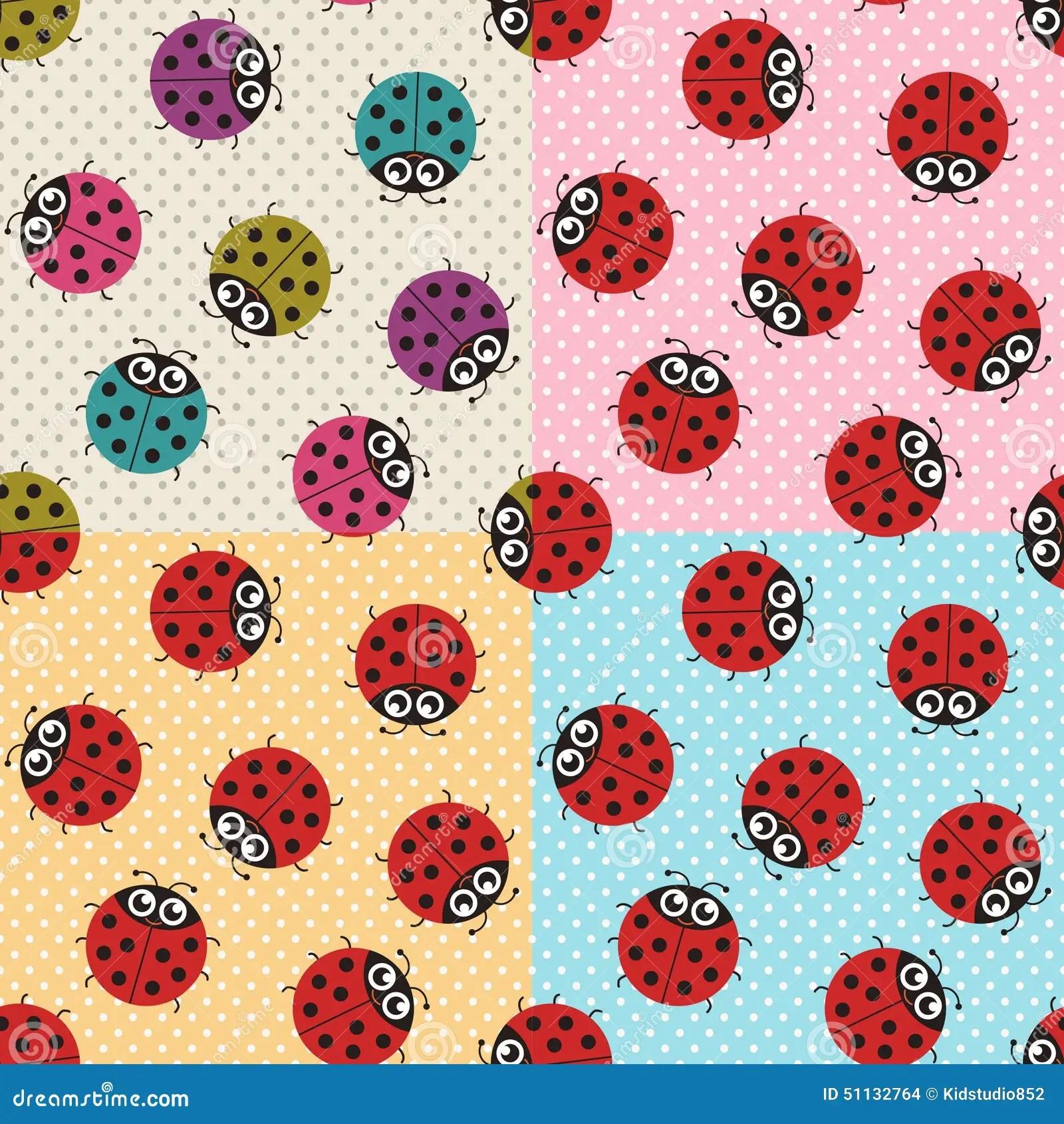Pink Animal Print Wallpaper Seamless Ladybug Fabric Pattern Stock Vector Image 51132764