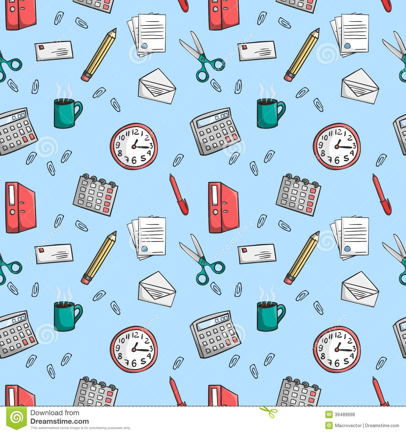 Stress Girl Wallpaper Seamless Office Stationery Pattern Background Stock Vector