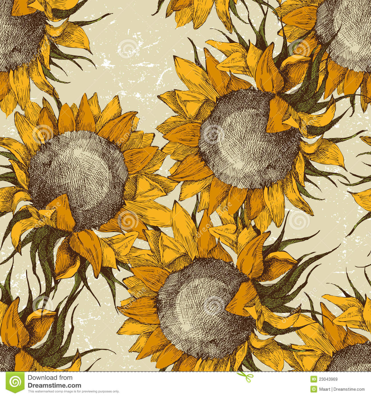 Fall Leaf Pattern Wallpaper Seamless Ornament With Sunflowers Stock Vector