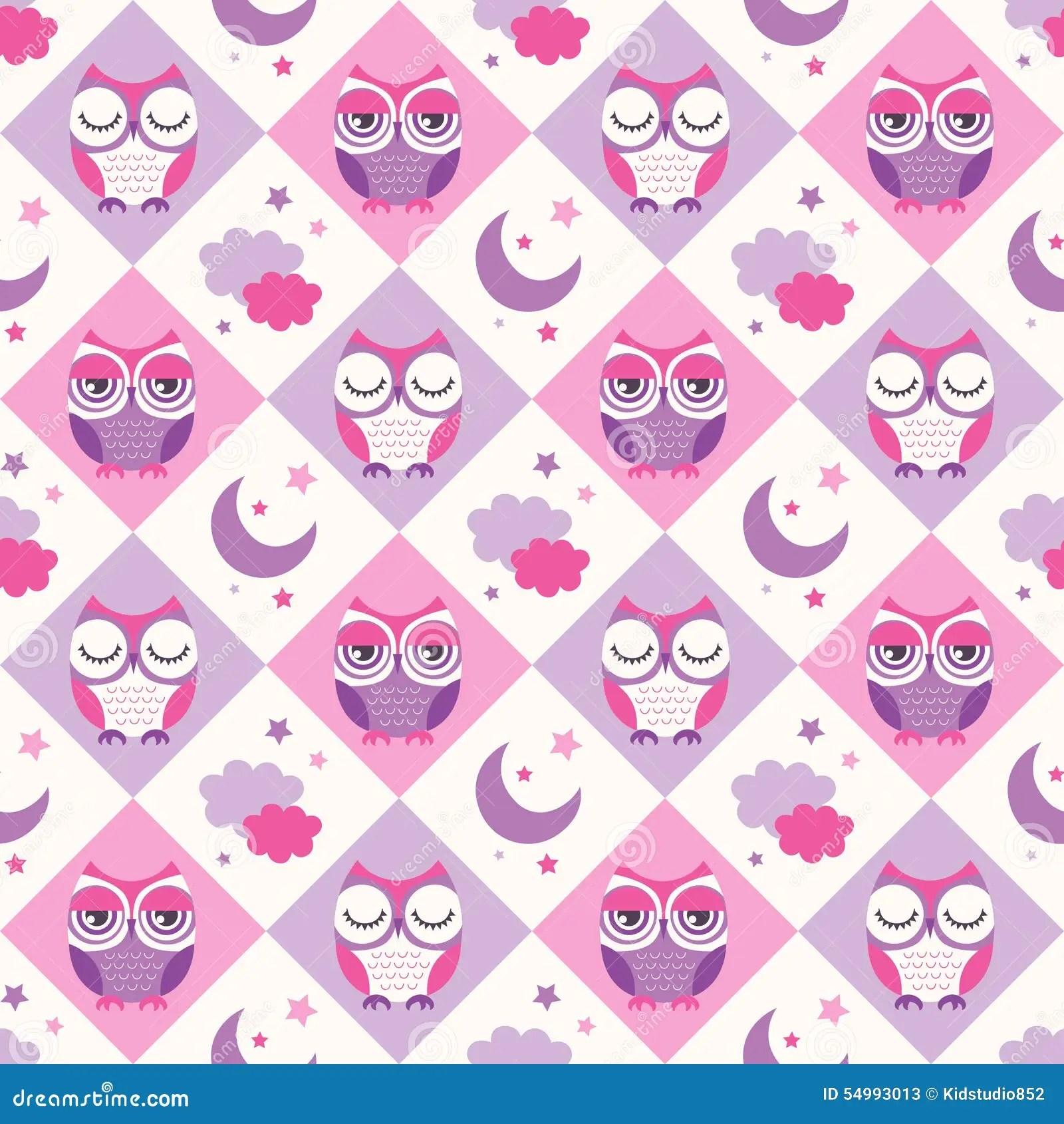 Cute Cartoon Animal Wallpaper Seamless Owls Birds Bedroom Background Stock Vector