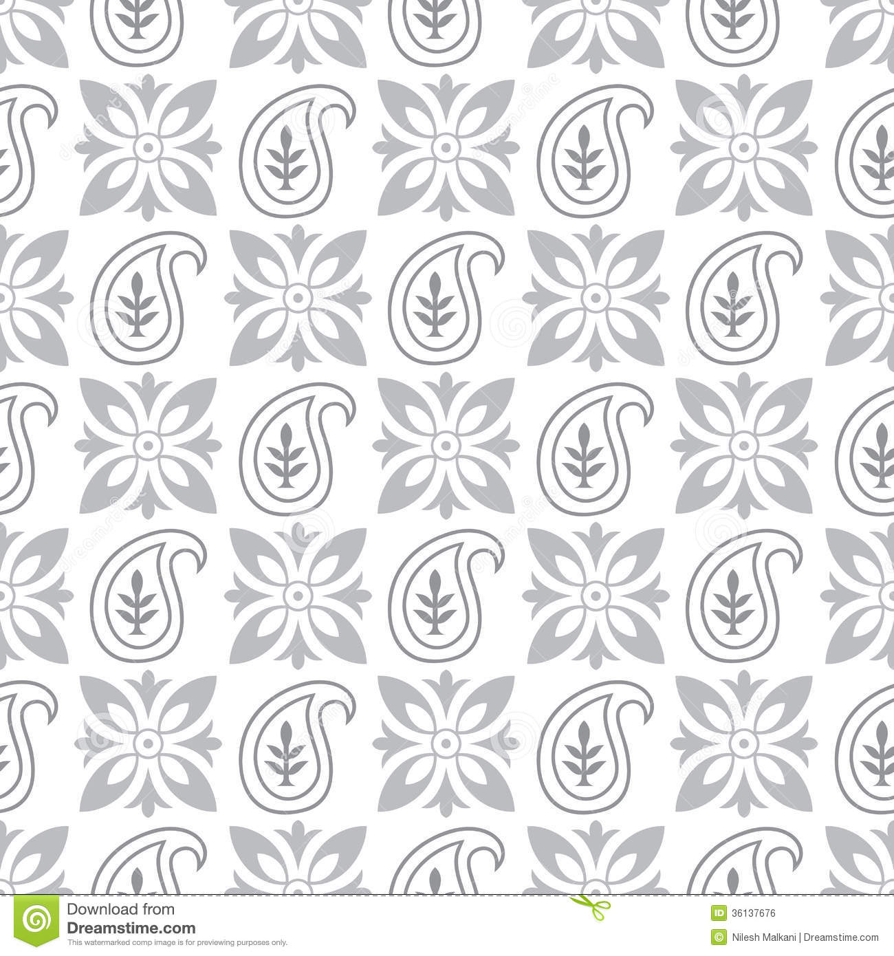 Black And Silver Floral Wallpaper Seamless Paisley Pattern Stock Vector Image Of Repeat