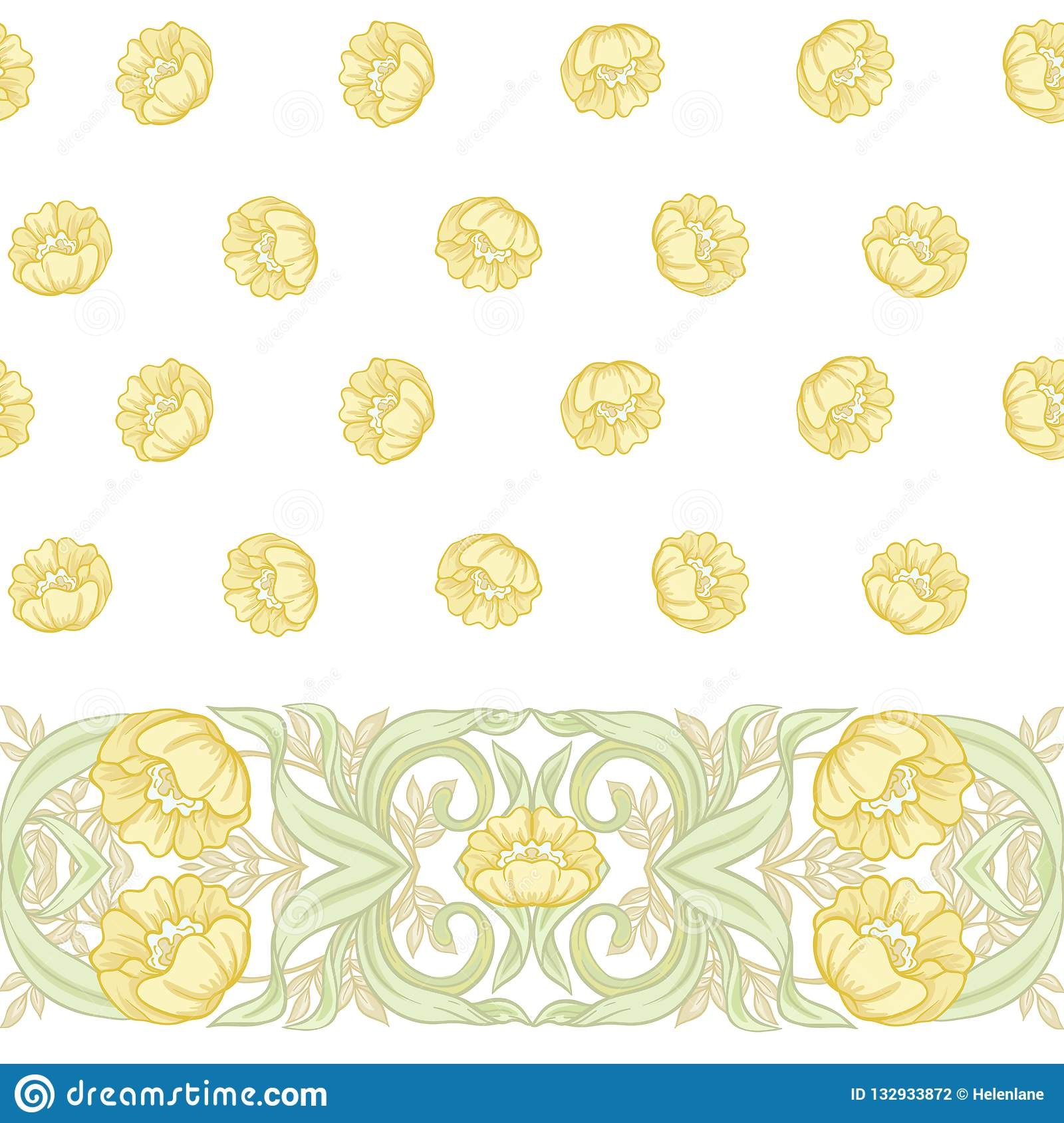 Art Nouveau Yellow Seamless Pattern Background With Floral Pattern In Art Nouveau