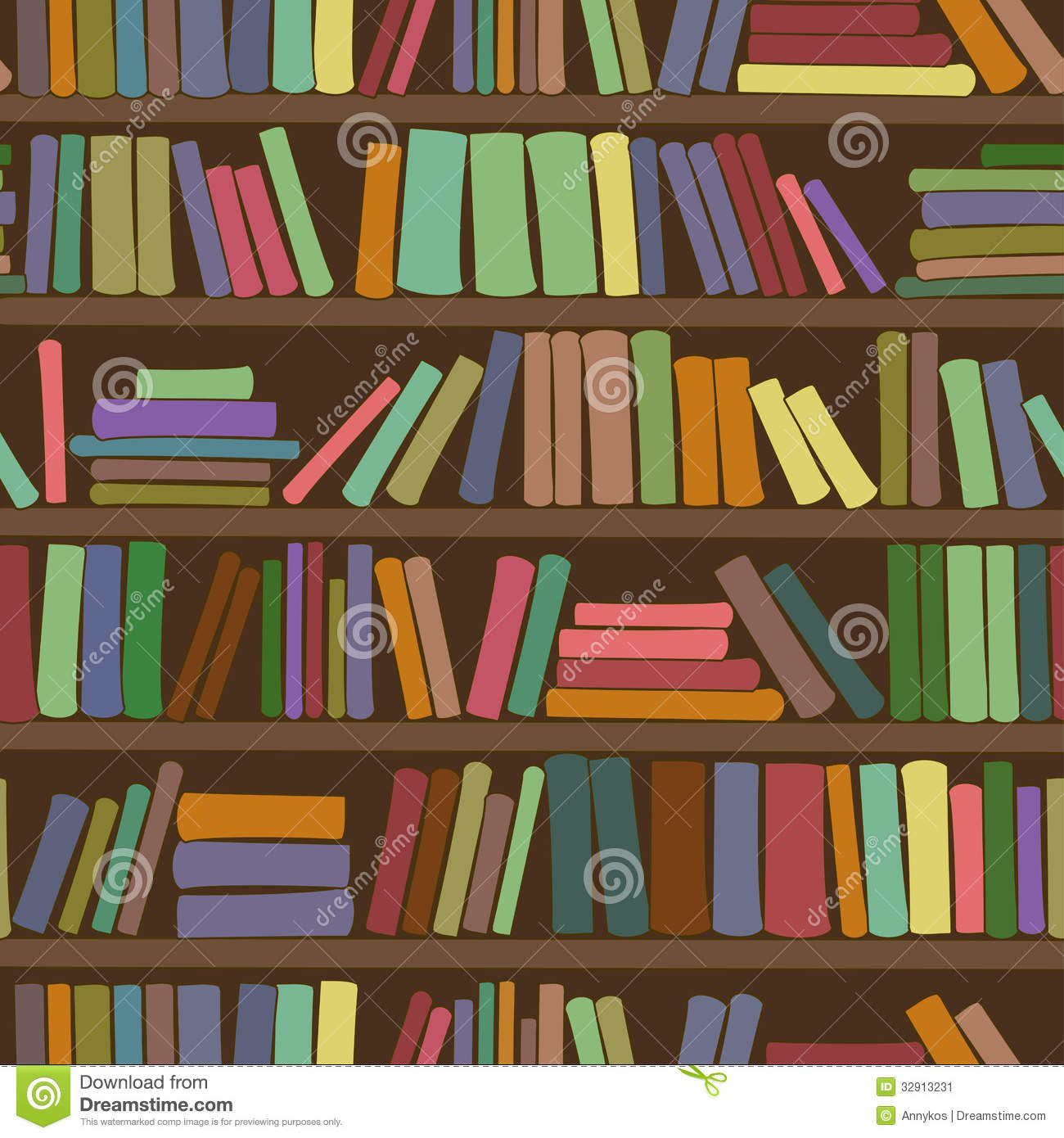 3d Bookcase Wallpaper Seamless Pattern Of Bookshelf With Books Stock Image