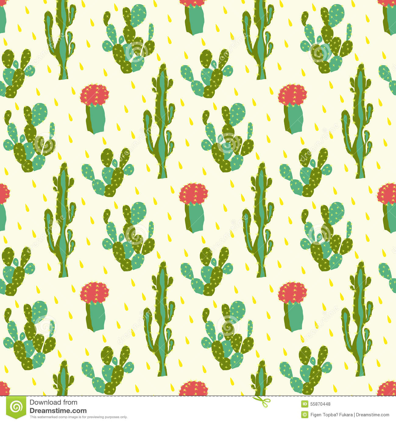 Baby Pink Iphone Wallpaper Seamless Pattern With Cactus Stock Vector Image 55870448