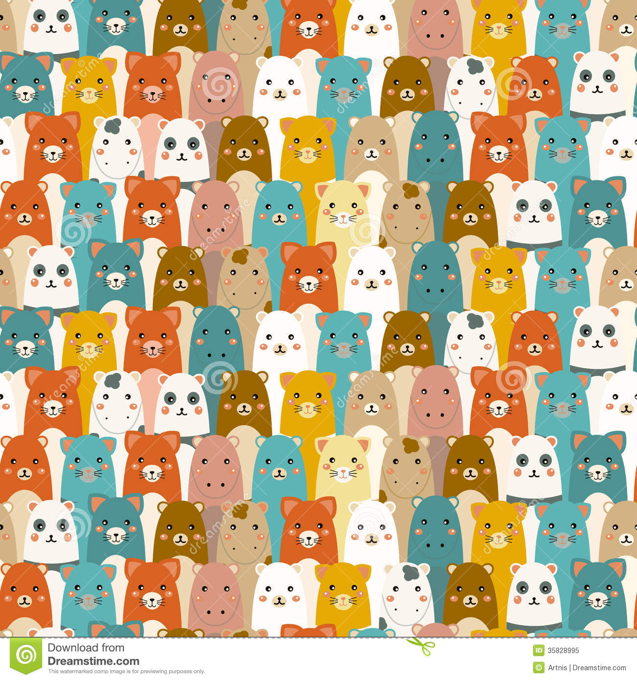 Cute Baby Animals Wallpaper Icon Seamless Pattern With Cartoon Animals Royalty Free Stock