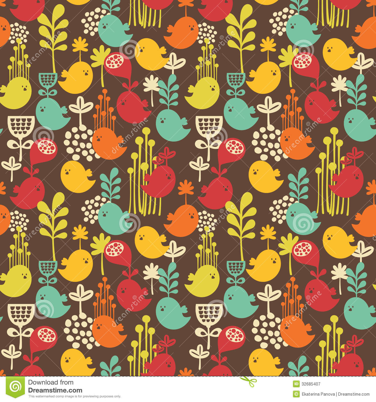 Free Animated Fall Wallpaper Seamless Pattern With Cartoon Birds Stock Vector Image