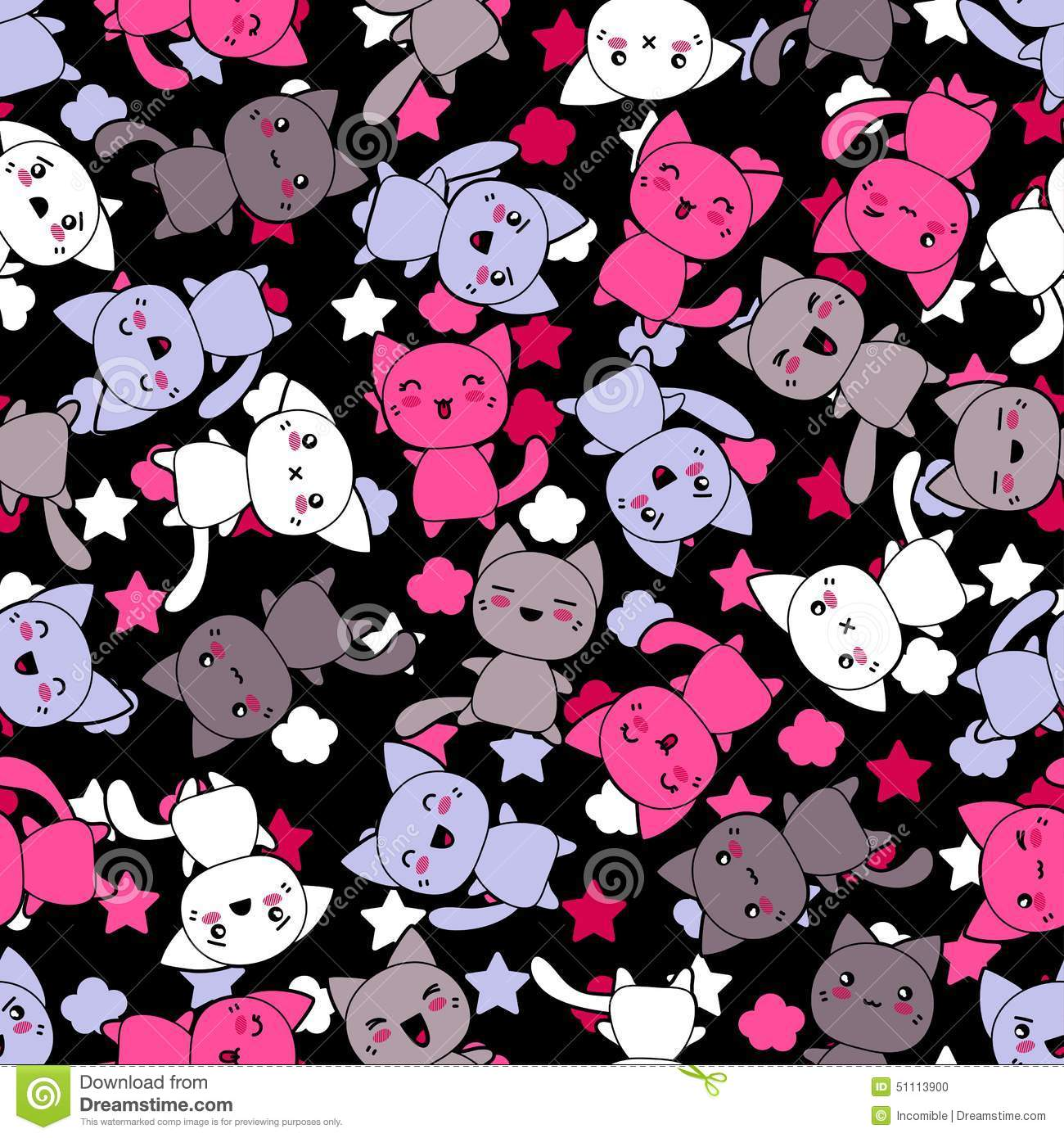 Cute Squishies Wallpaper Seamless Pattern With Cute Kawaii Doodle Cats Stock Vector