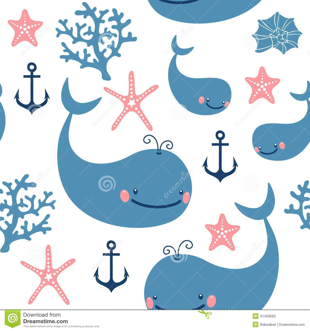 Cute Elephant Design Wallpaper Seamless Pattern With Cute Whales Stock Vector Image