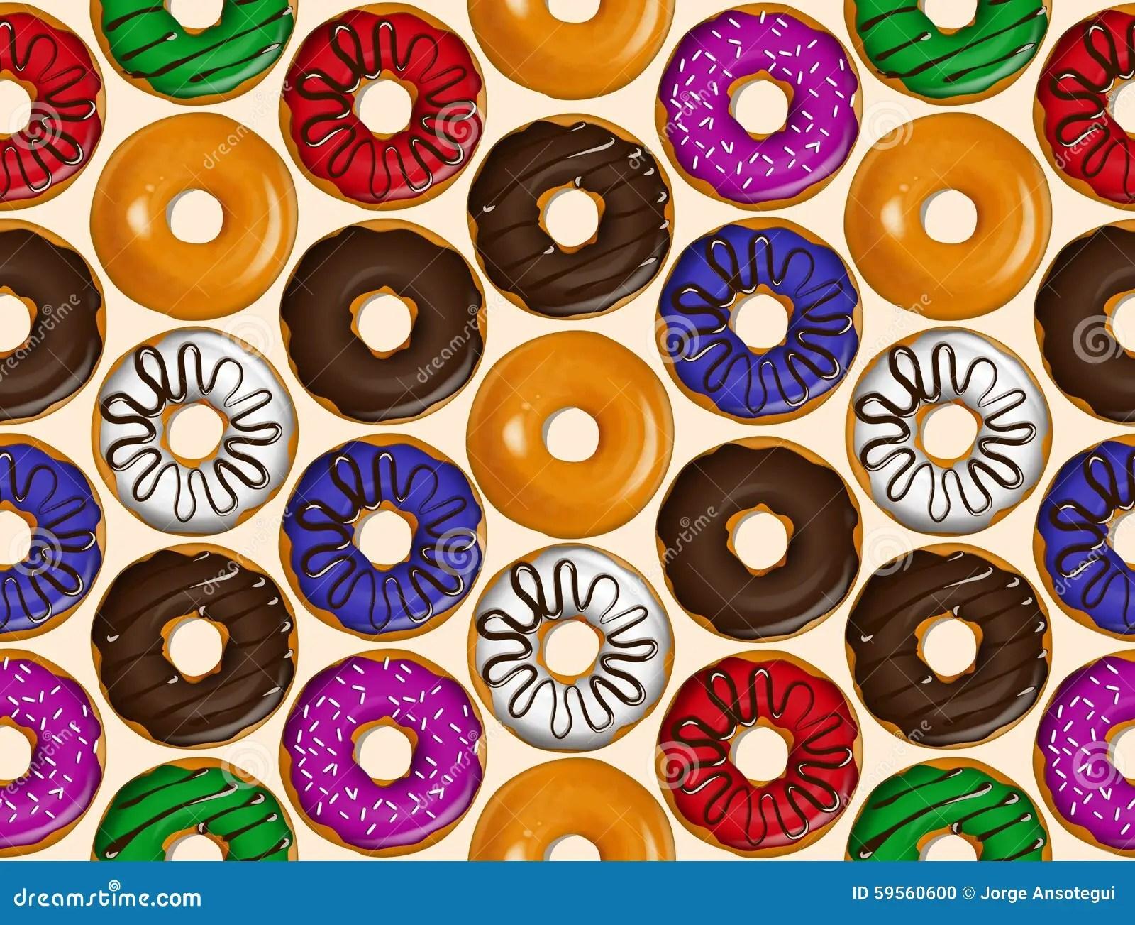 Cute Bakery Wallpaper Seamless Pattern Of Donuts Donut Pattern Vector Stock