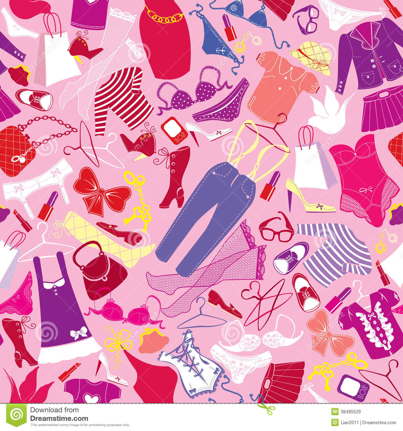 Cute Nail Arts Wallpaper Seamless Pattern For Fashion Design Silhouettes Royalty