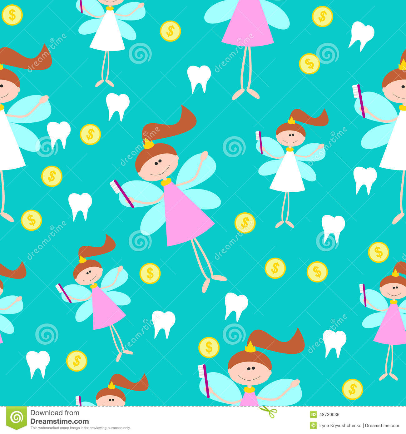Cute Baby Angel Wallpaper Seamless Pattern With Little Cute Tooth Fairy With Teeth