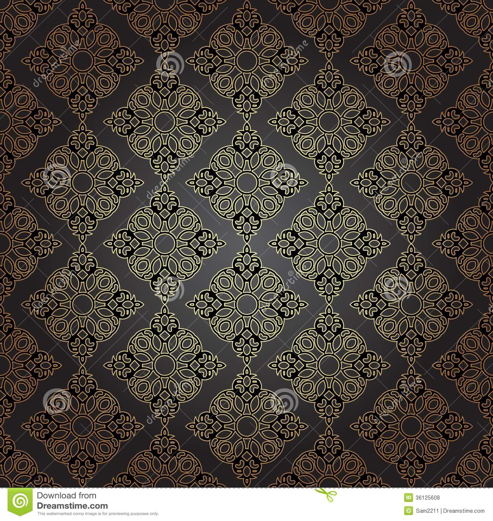 Plain Black Wallpaper Seamless Pattern In Mosaic Ethnic Style Royalty Free
