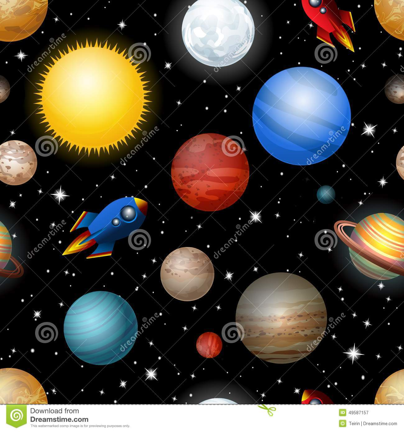 Solar System 3d Wallpaper Seamless Pattern With Planets And Rockets Stock Vector
